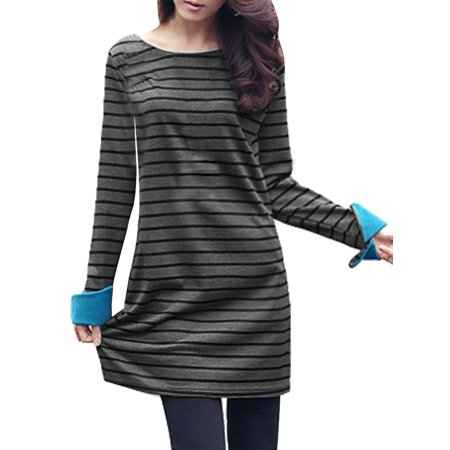 (Women's Striped Tee Dresses)