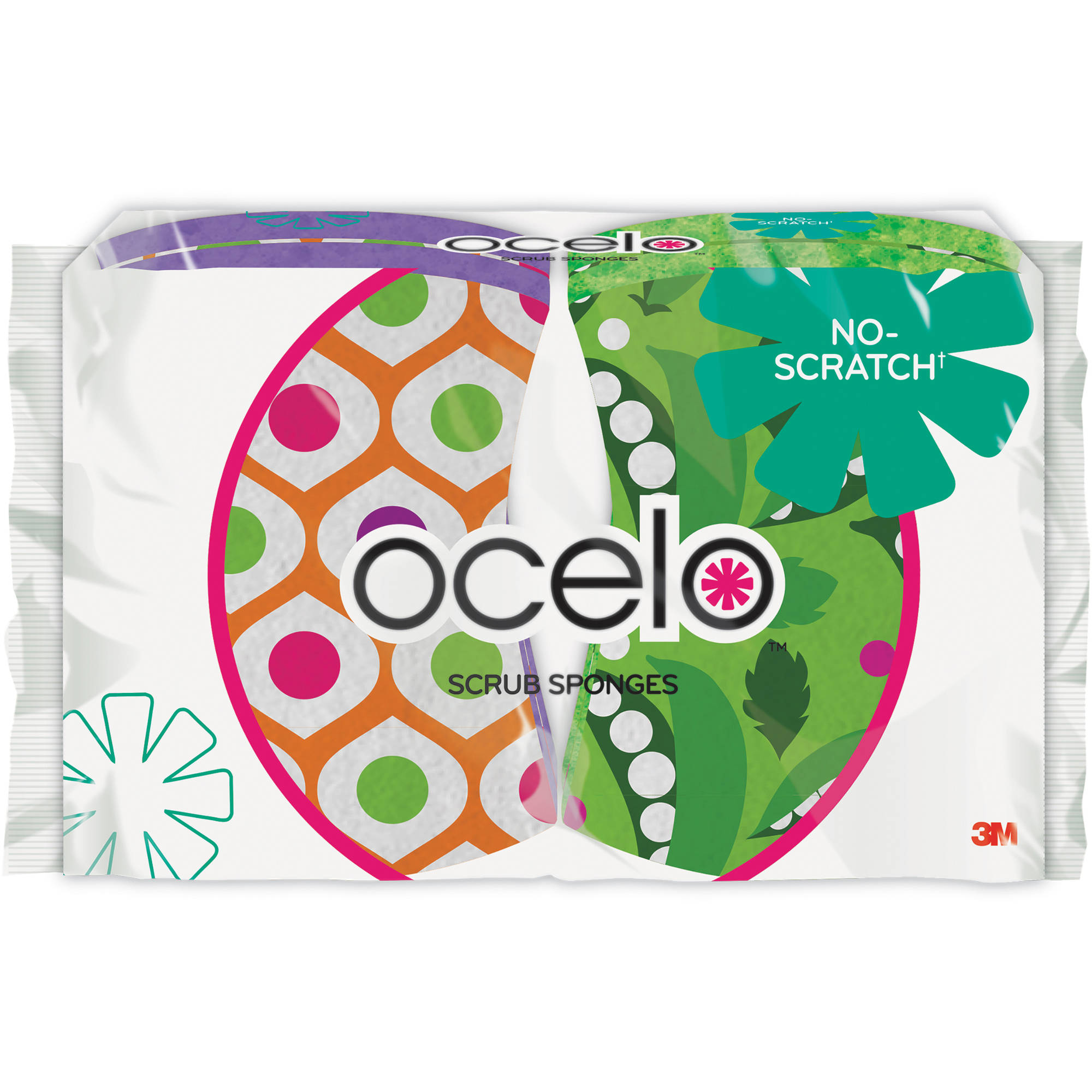 ocelo No-Scratch Scrub Sponge, 4 pack