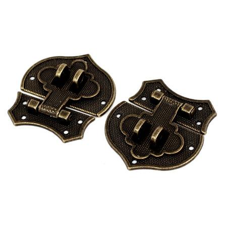 Case 2 Tone Hearts - Antique Style Wooden Case Box Heart Shape Clasp Hasp Latch Bronze Tone 2 Set