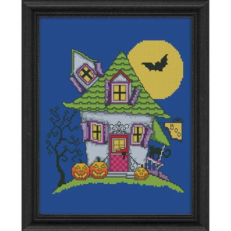 Herrschners® Haunted House Lane Stamped Cross-Stitch - House Cross Stitch