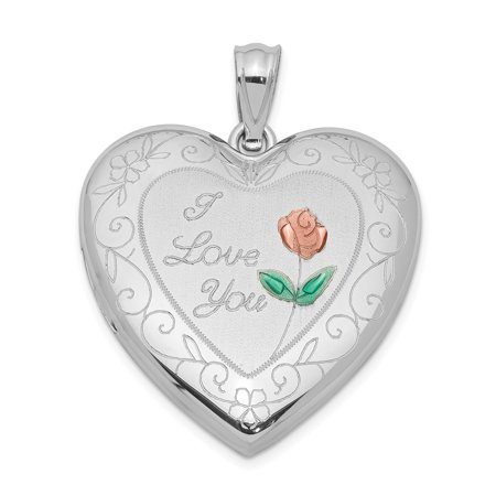 925 Sterling Silver 24mm Enameled Rose Border Heart Photo Pendant Charm Locket Chain Necklace That Holds Pictures Gifts For Women For Her