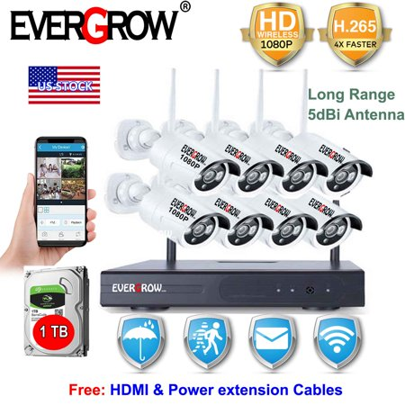 EverGrow H265+ 8CH Wireless NVR 1080P Wifi CCTV IP Camera Home Video Security System Night Vision With 1TB Hard Drive Disk (CAM-WIFI-8CH-2MP-2) ()
