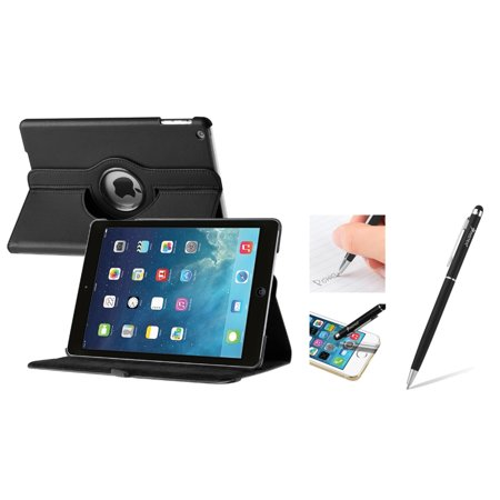 Insten Black 360 Swivel Rotating Leather Case w/ Sleep Mode + 2in1 Stylus with Ballpoint Pen For Apple iPad Air