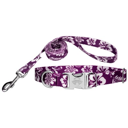 Country Brook Design®  Purple Hawaiian Premium Dog Collar & Leash
