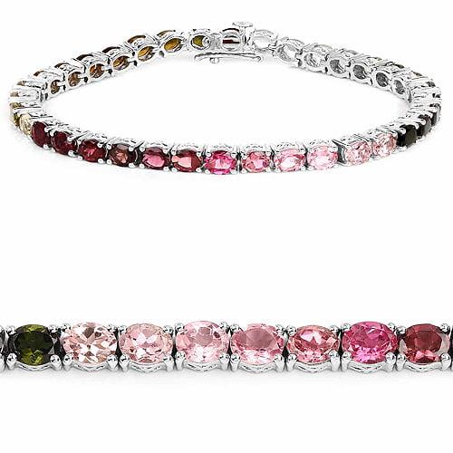 11.88 ct. Genuine Pink Tourmaline, Green Tourmaline and Brown Tourmaline Sterling Silver Bracelet by DAZYLE