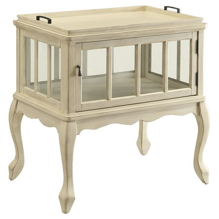 ACME Fidelia Console Table & Tray, Antique White ()