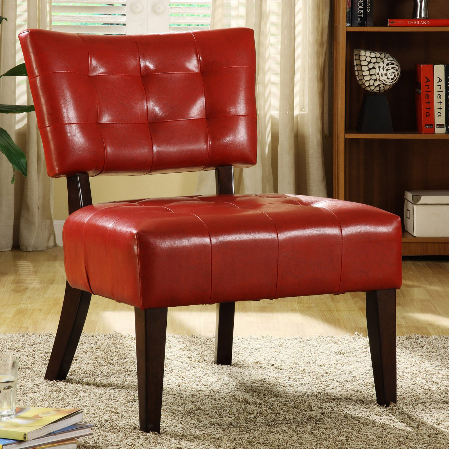 Tufted Accent Chair Red Faux Leather Walmart
