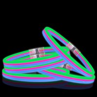 Lumistick Glow Band Necklaces - Triple Wide Neon Party Favor Glow Sticks with Connectors Green Pink and Blue 25ct