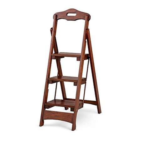 Solid Wood Folding Portile 3 Step Stool Ladder Kitchen Capacity Colors Walnut