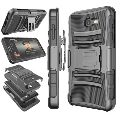 Tekcoo for Samsung Galaxy J7 2017 / J7 Sky Pro / J7 Perx / J7V / J7 V / Halo Case Holster Belt, Shock Absorbing [Black] Locking Belt Defender Heavy Full Body Kickstand Carrying Tank Armor