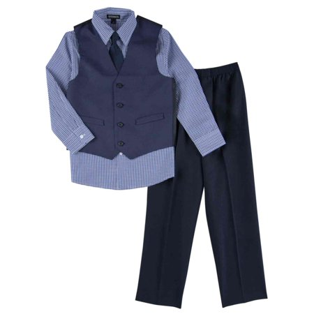 Toddler & Boys 4 Piece Blue Holiday Dress Up Outfit Suit Tie & - Boys Dress Up Clothes