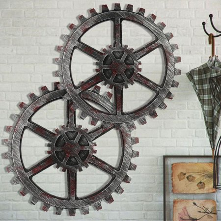 4 Wooden Wall Art Hanging (Vintage Industrial Wood Wooden Gear Art Music Bar Cafe Shop Wall Hanging Retro Decor )