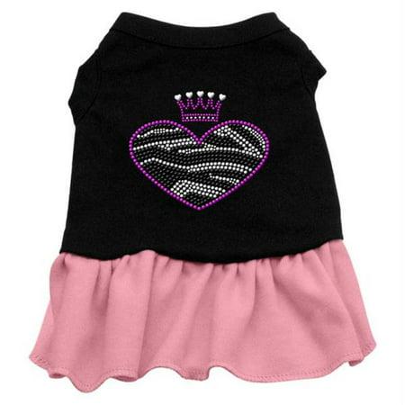 Xs Harness Dress - Zebra Heart Rhinestone Dress Black with Pink XS - 8