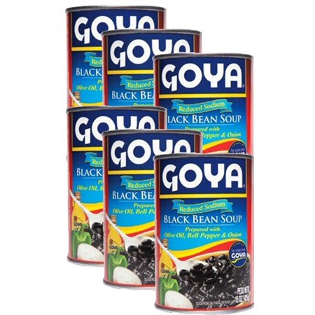 Goya Black Bean Soup Seasoned Low Sodium 15 oz Pack of 6 10 Bean Soup