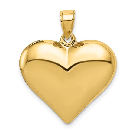 14k Yellow Gold 3 D Heart Pendant Charm Necklace Love Puffed Gold Heart Charm Necklace