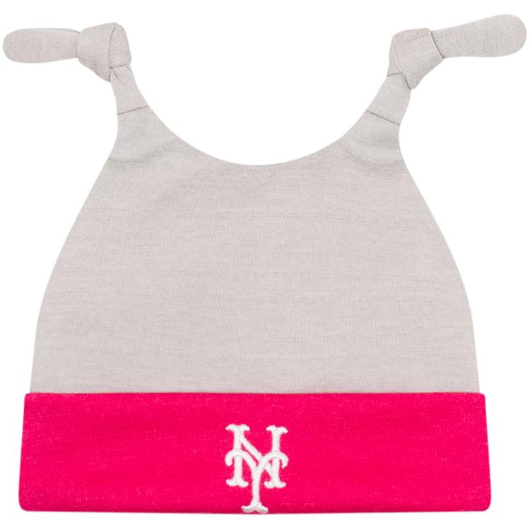 New York Mets New Era Newborn Shadow Tot Dub Cuffed Knit Hat - Gray/Pink - OSFA
