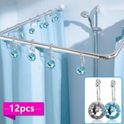 Shower Curtain Rings Hooks, EEEKit 12Pcs Stainless Steel Rust Resistant Double Hooks Glide Shower Ring Hangs Decorative Hooks for Both Shower Rods Curtain and Liner