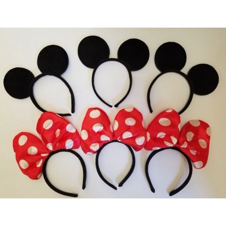 LWS LA Wholesale Store  10 PCS MICKEY black & lg RED polka bow MOUSE minnie EAR HEADBANDS PARTY FAVOR](Minnie Mouse Ears Party City)