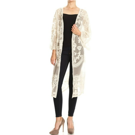 Summer Long Embroidered Lace Kimono Half Sleeves Outerwear Cardigans For