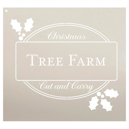 Xmas Tree Template (Christmas Tree Farm Cut and Carry Stencil by StudioR12 | Country Christmas Word Art - Reusable Mylar Template | Use on a Wall, Canvas and Boards | Etching, Chalk, -)