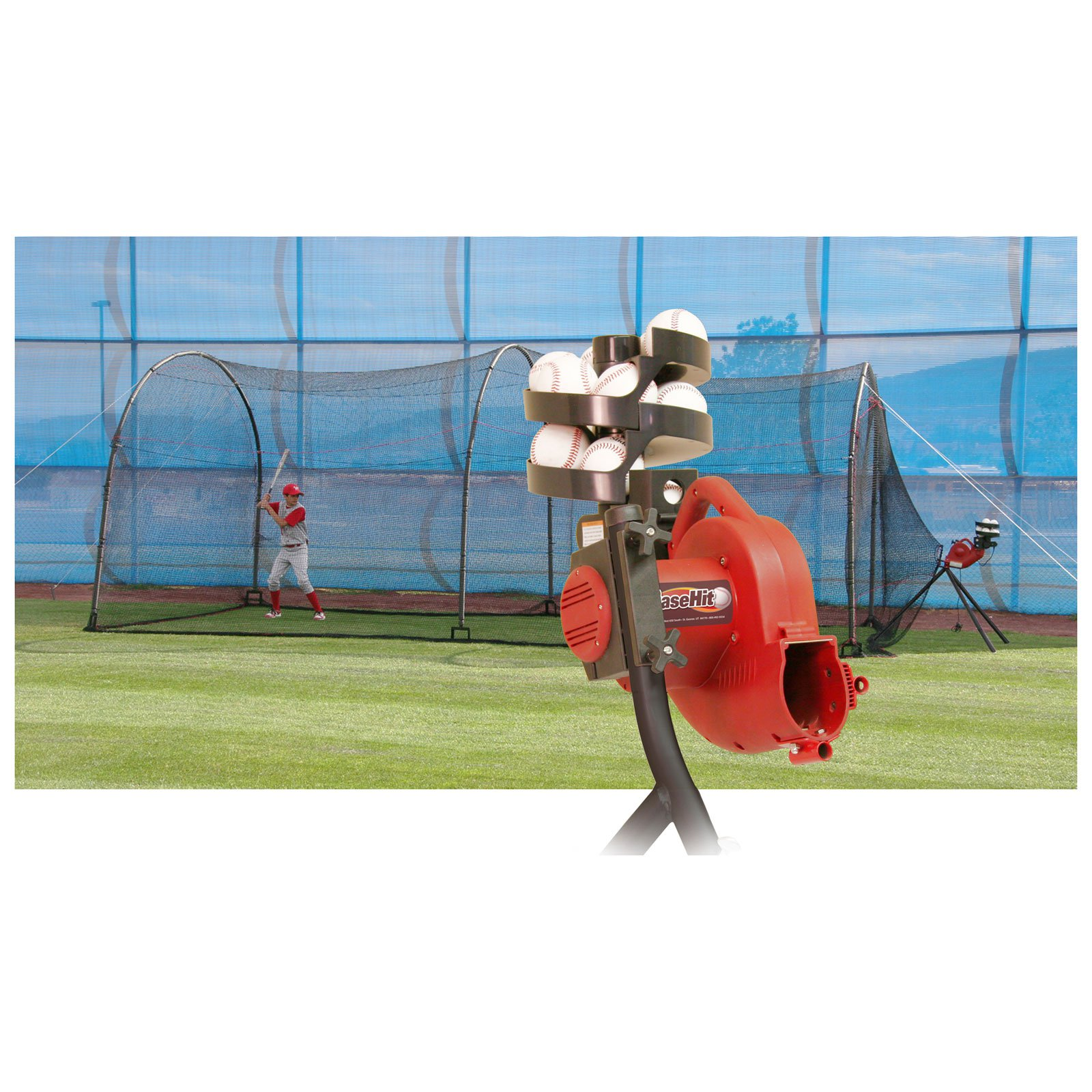 Heater Sports 24 ft. BaseHit Pitching Machine & Xtender Batting Cage Package