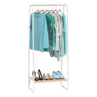 IRIS USA, Metal Garment Rack with Wood Shelf, White/Light Brown
