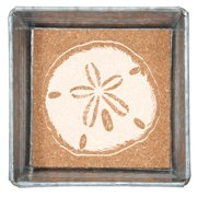 Sand Dollar Napkin or Trinket Tray Galvanized Metal and Printed Cork 5 Inch