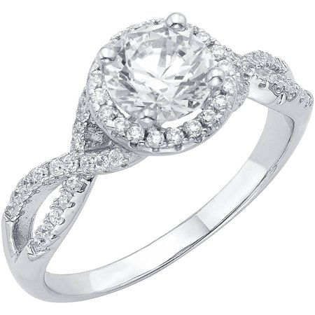 12 carat tgw australian crystal and cz sterling silver engagement ring - Silver Wedding Rings