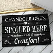 Grandchildren Spoiled Here Black Personalized Doormat - Gift for Grandparent