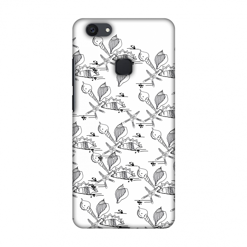 Vivo Y79 Case - Sea Shells Repeat, Hard Plastic Back Cover, Slim Profile Cute Printed Designer Snap on Case with Screen Cleaning Kit