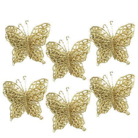 Iuhan 6Pcs Christmas Tree Ornaments Christmas Simulation Butterfly Xmas Ornament Red / Gold ()