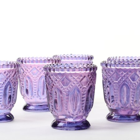 Koyal Wholesale Purple Vintage Glass Candle Holder (Pack of 6), 3 x 2.75