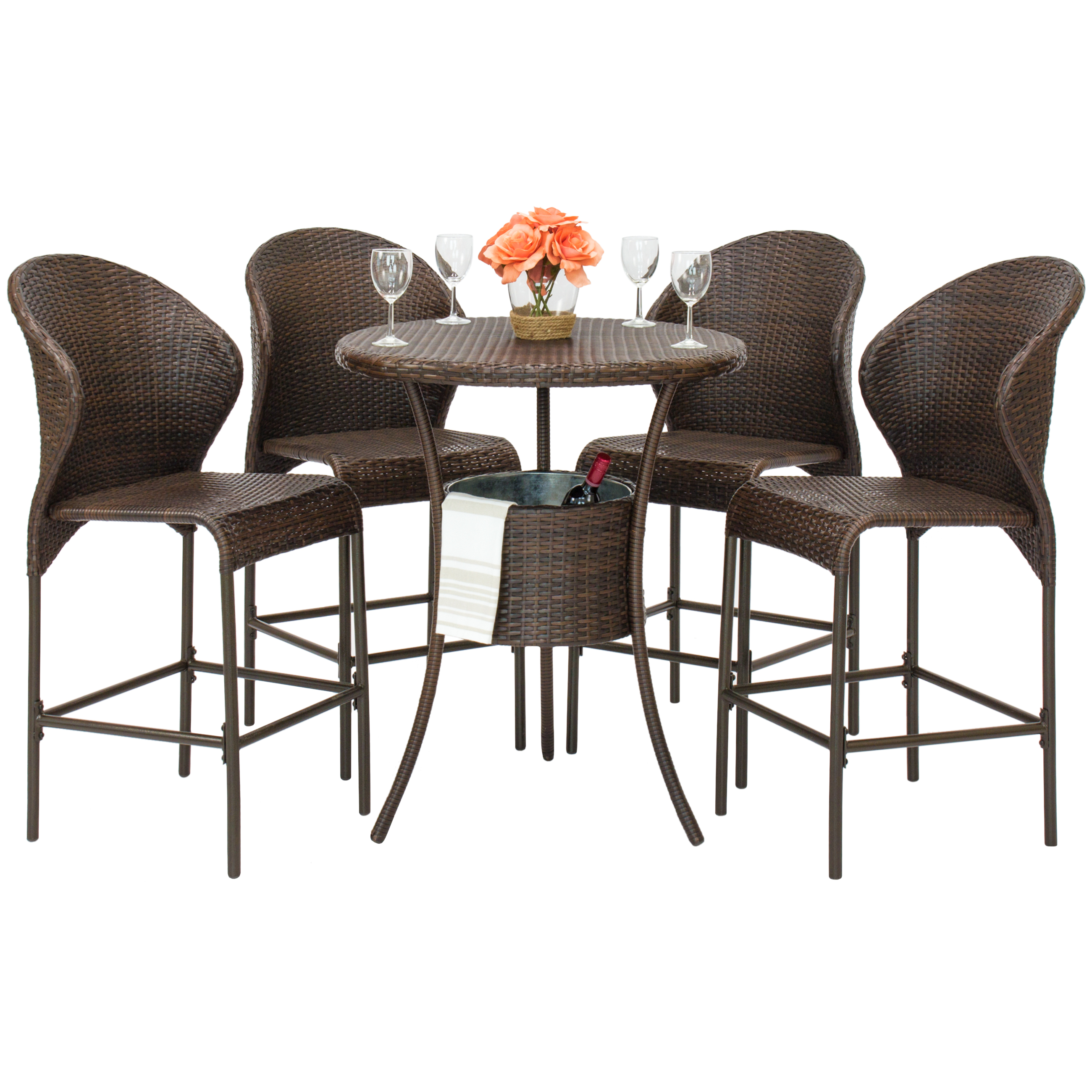 Best Choice Products 5-Piece Outdoor Patio Furniture Wicker Bistro Pub Table Set w  Ice Bucket Brown by