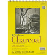 """Strathmore 300 Series Charcoal Pad, White, 9""""x12"""" Wire Bound, 32 Sheets"""
