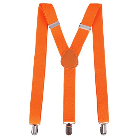 Halloween Party Accessory Unisex Clip-On Adjustable Elastic Suspenders, Orange - Halloween 6 Clips