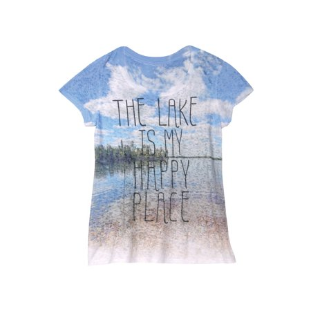 Women's T-Shirt - The Lake is My Happy Place Short Sleeve Burnout Tee ()