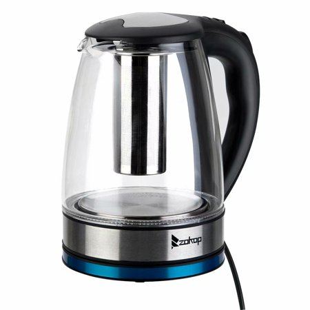 Electric Kettle Borosilicate Glass Electrical Tea Kettle with Mesh Filter, Fast Boiling Finish LED Indicator Light Auto Shut Off Boil Dry Function 1.8L