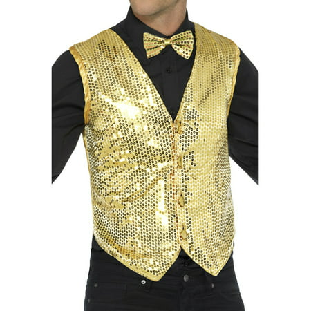 Mens Fancy Dress Gold Sequin Magicians Waistcoat Vest Costume