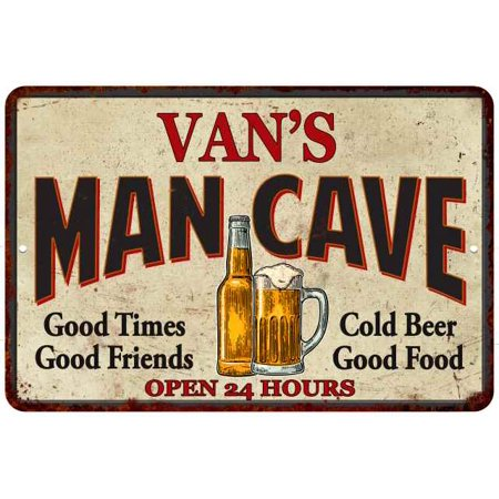VAN'S Man Cave Personalized Metal Sign Wall Decor Gift 8x12 - Vans Personalized