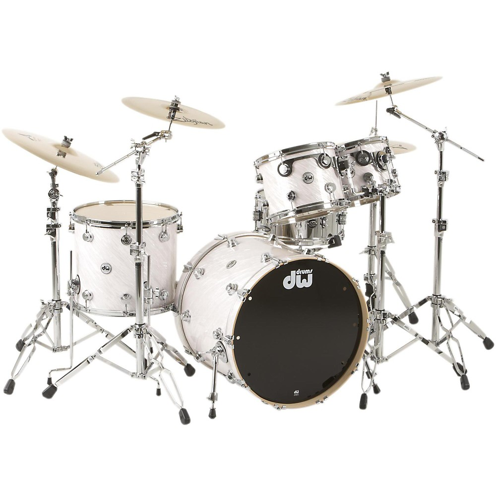 DW SSC Collector's Series 4-Piece Shell Pack Satin White Twisted Chrome Hardware by DW