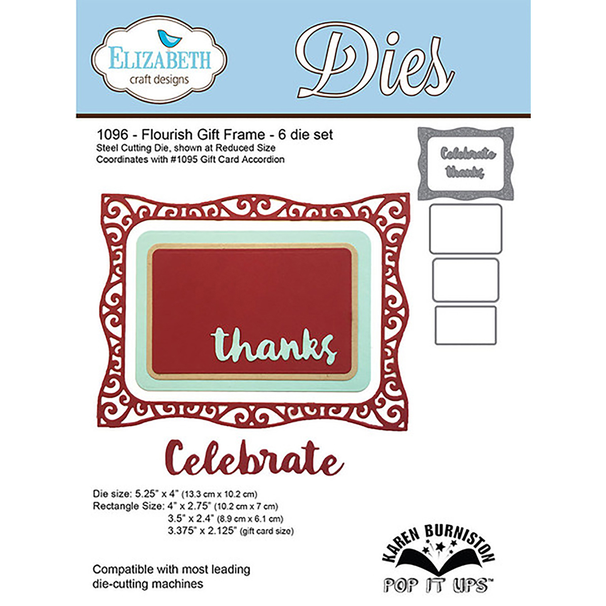 Elizabeth Craft Pop It Up Metal Dies By Karen Burniston-Flourish Gift Frame, 2.125 To 5.25""