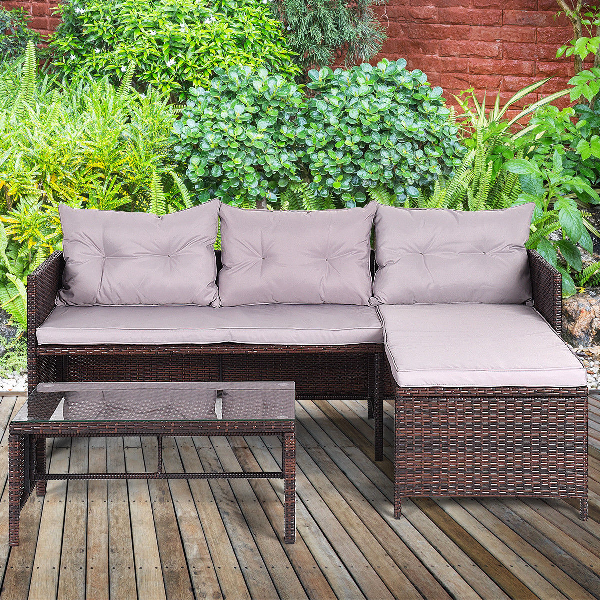 Costway 3 PCS Outdoor Rattan Furniture Sofa Set Lounge Chaise Cushioned  Patio Garden New Image 3