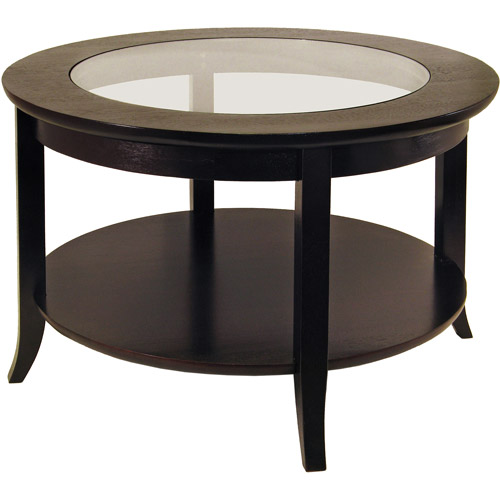 Genoa Round Coffee Table With Glass Top, Dark Espresso