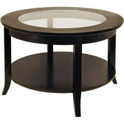 winsome wood genoa round coffee table with glass top espresso finish - Colored Coffee Tables