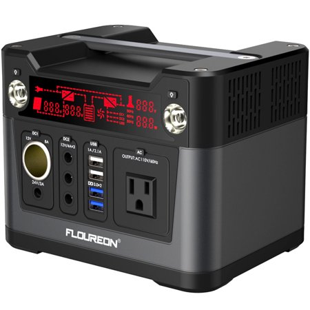 Portable Power Station, FLOUREON 300Wh Solar Generator for home use with 300W AC Outlet, 12V Car, USB Output Lithium Power Supply for camping Road Trip Emergency