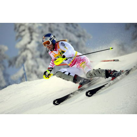 Lindsey Vonn Poster Action Skiing Metal Sign 8in x 12in