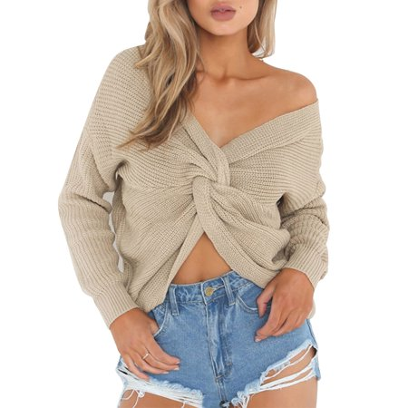 Knitted Sweaters Women Jumpers Pullovers V-Neck Twisted Back  Long Sleeve Chunky Cable Knit Tops Winter Casual Knitwear