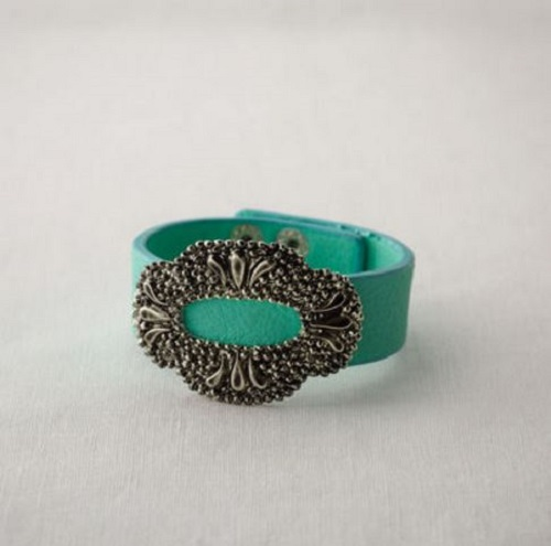 Turquoise Cuff with Antique Gold Oval Buckle Fashion Bracelet Jewelry Demdaco