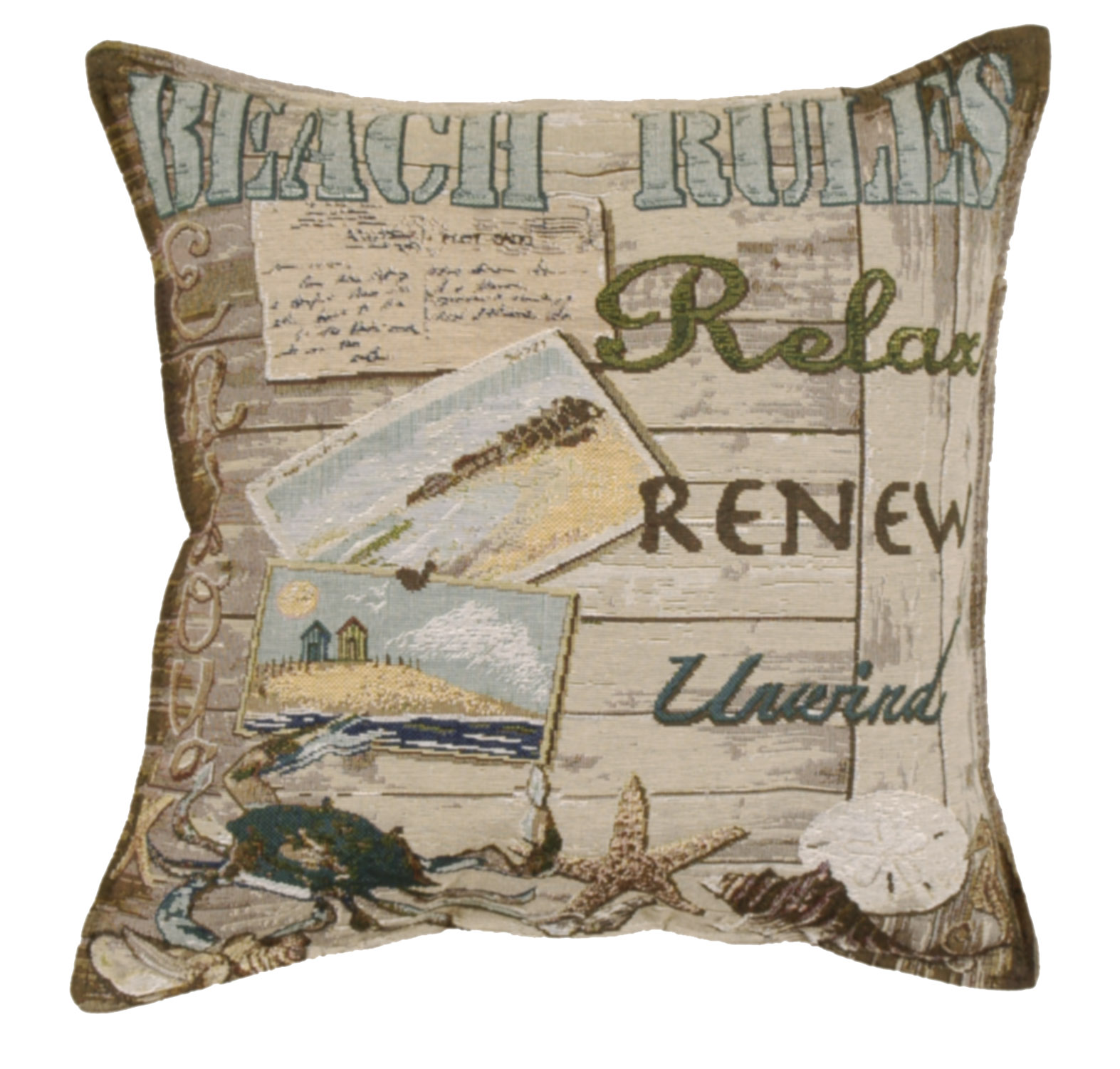 Set of 2 Cape Cod Beach Rules Square Decorative Tapestry Throw Pillows 17""