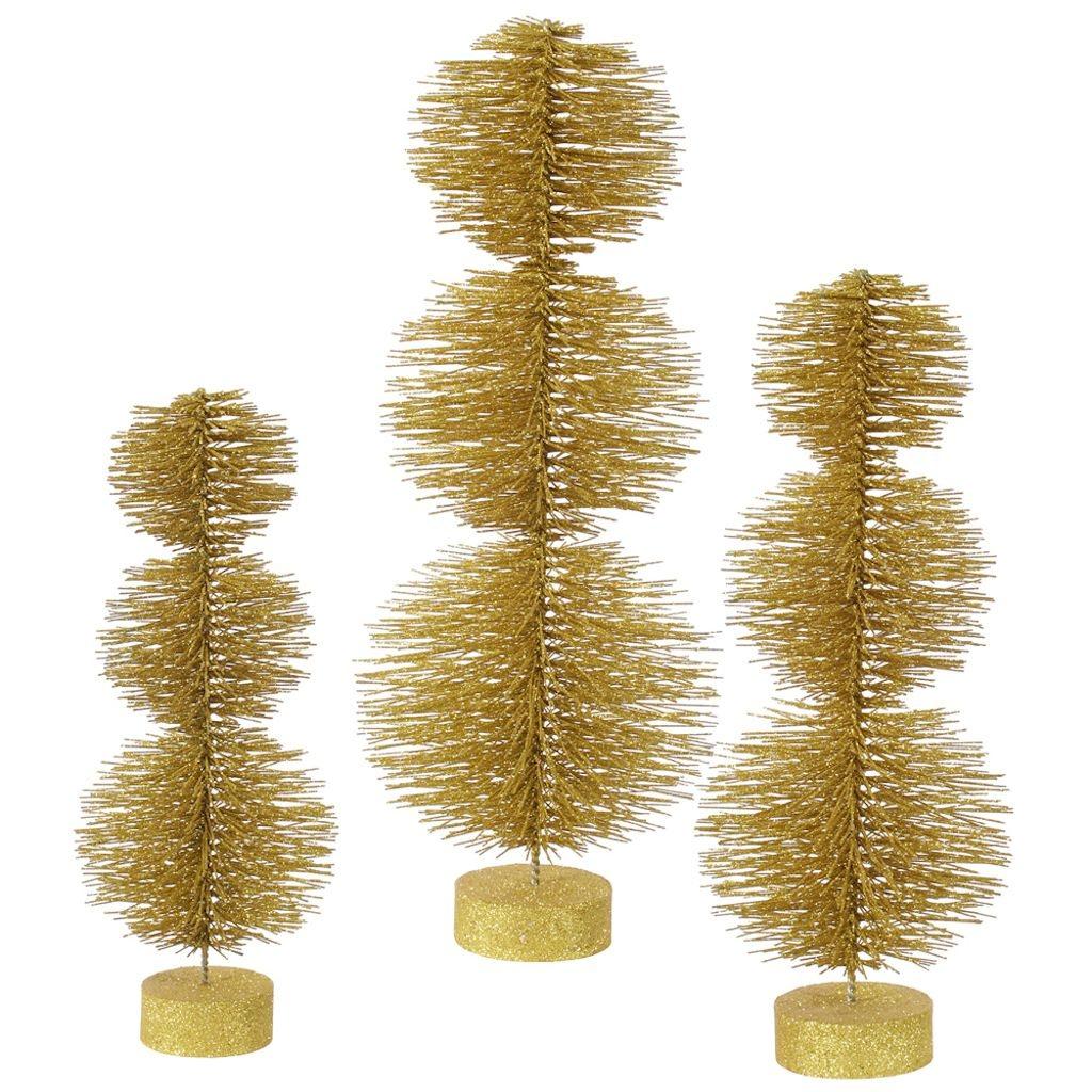 Vickerman 3 Piece Glitter Round Topiary Tree Set
